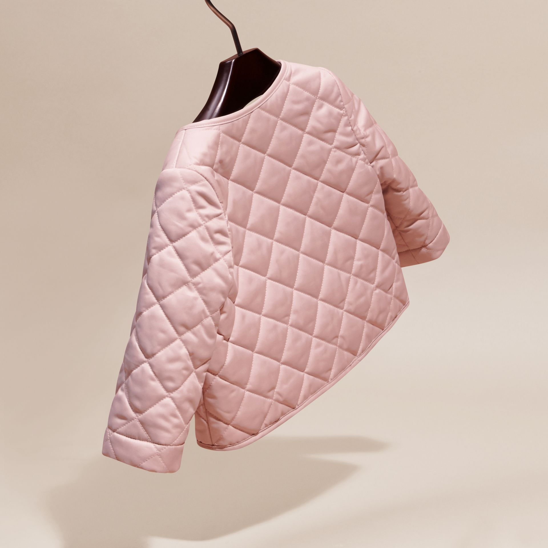 Powder pink Collarless Diamond Quilted Jacket Powder Pink - gallery image 4