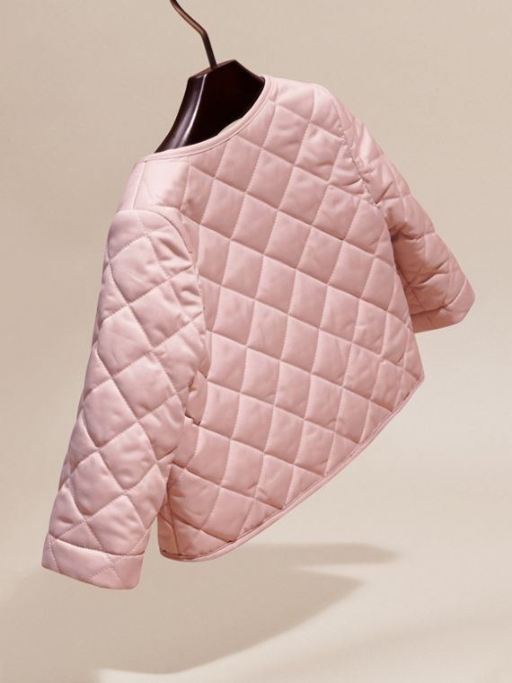 Powder pink Collarless Diamond Quilted Jacket - cell image 3