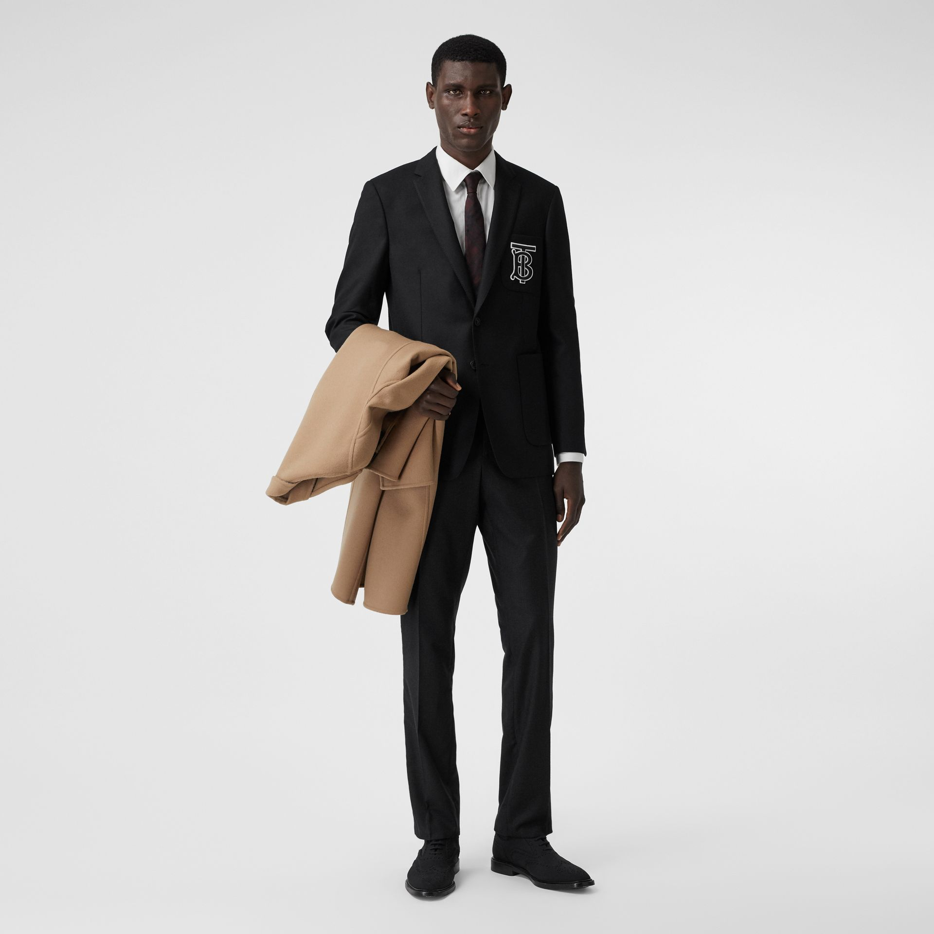 Slim Fit Monogram Motif Wool Flannel Tailored Jacket in Black - Men | Burberry - gallery image 0