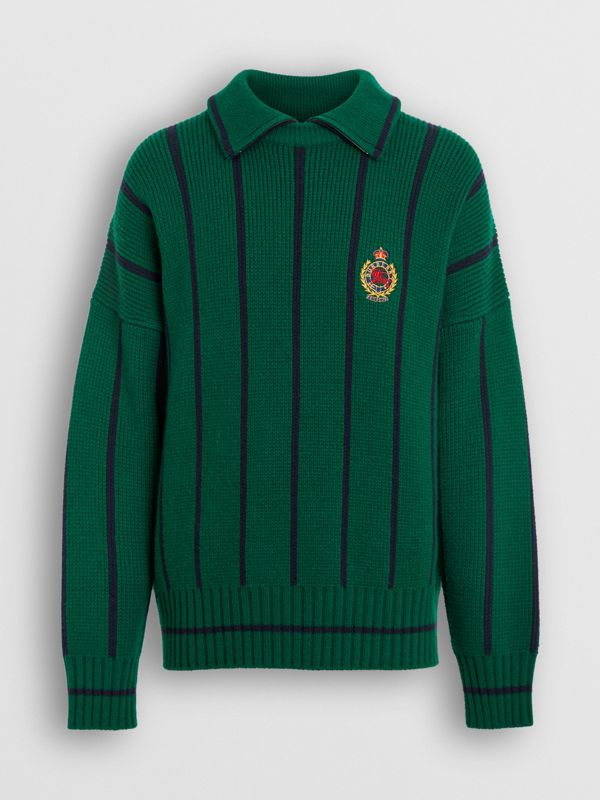 Pullover in misto lana e cashmere a righe (Verde Foresta Brillante) - Uomo | Burberry - cell image 3