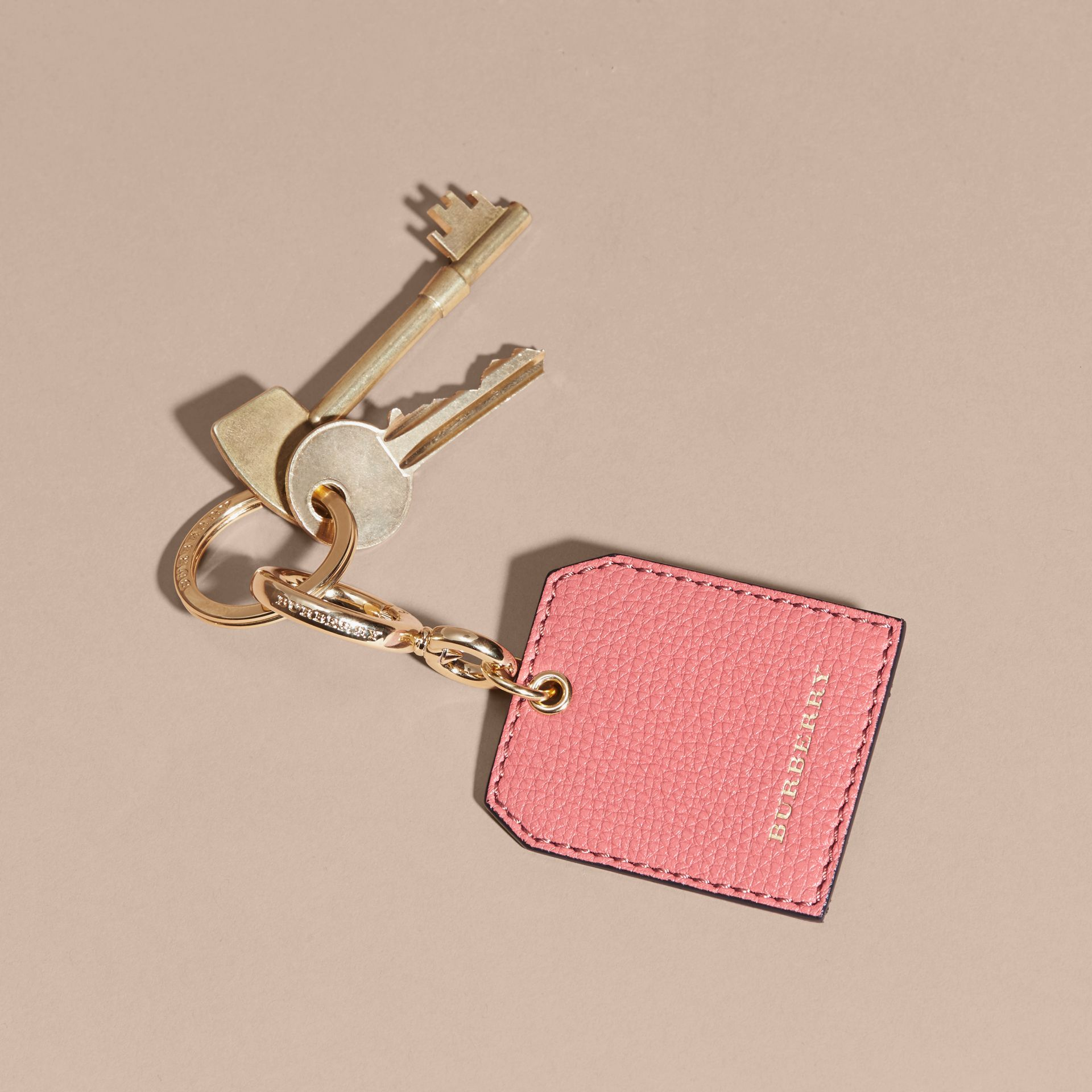 Grainy Leather Key Charm in Copper Pink - Women | Burberry - gallery image 3