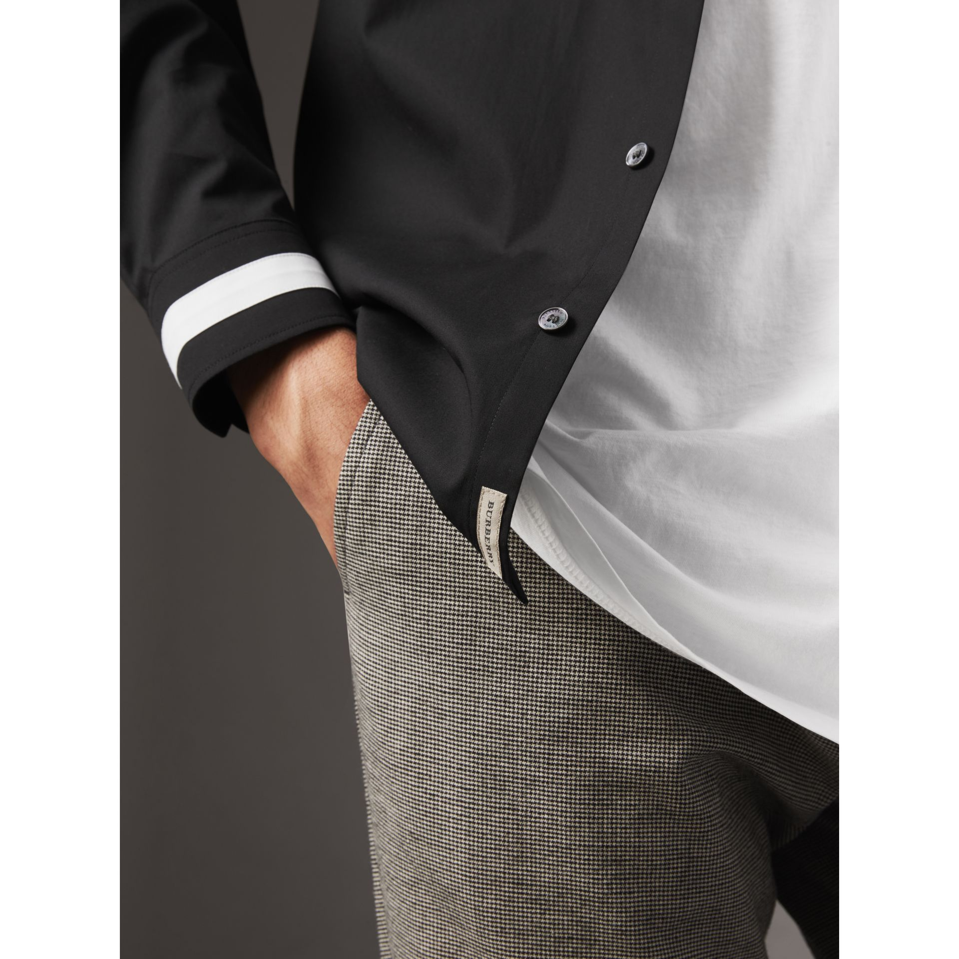 Striped Cuff Stretch Cotton Shirt in Black - Men | Burberry - gallery image 1