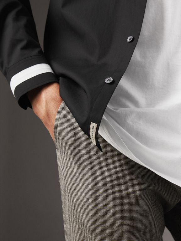 Striped Cuff Stretch Cotton Shirt in Black - Men | Burberry - cell image 1