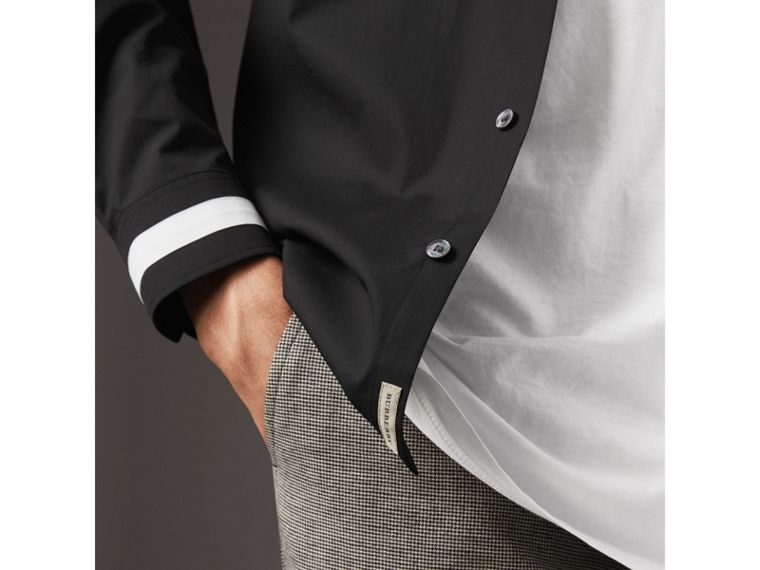 Striped Cuff Stretch Cotton Shirt in Black - Men | Burberry Canada - cell image 1