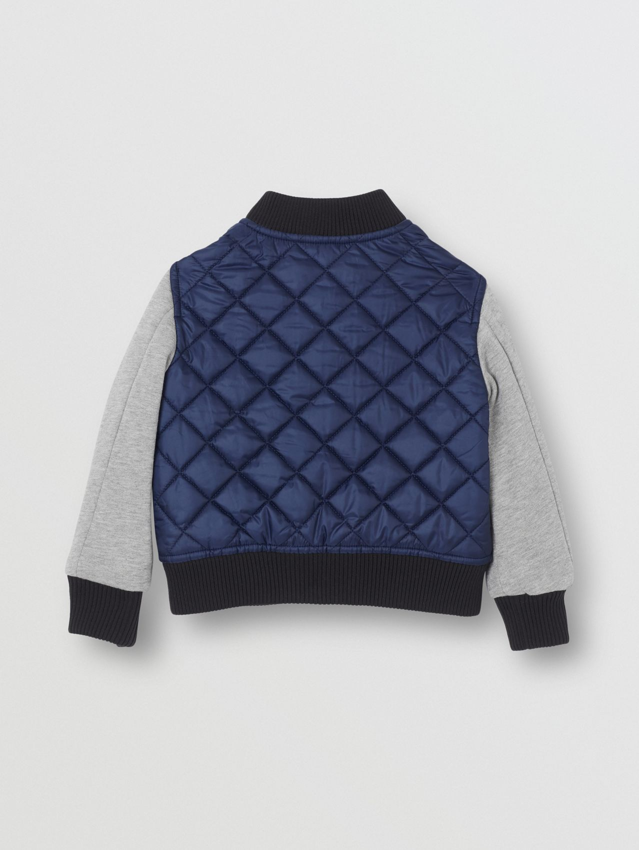 Contrast Sleeve Diamond Quilted Bomber Jacket in Grey Melange