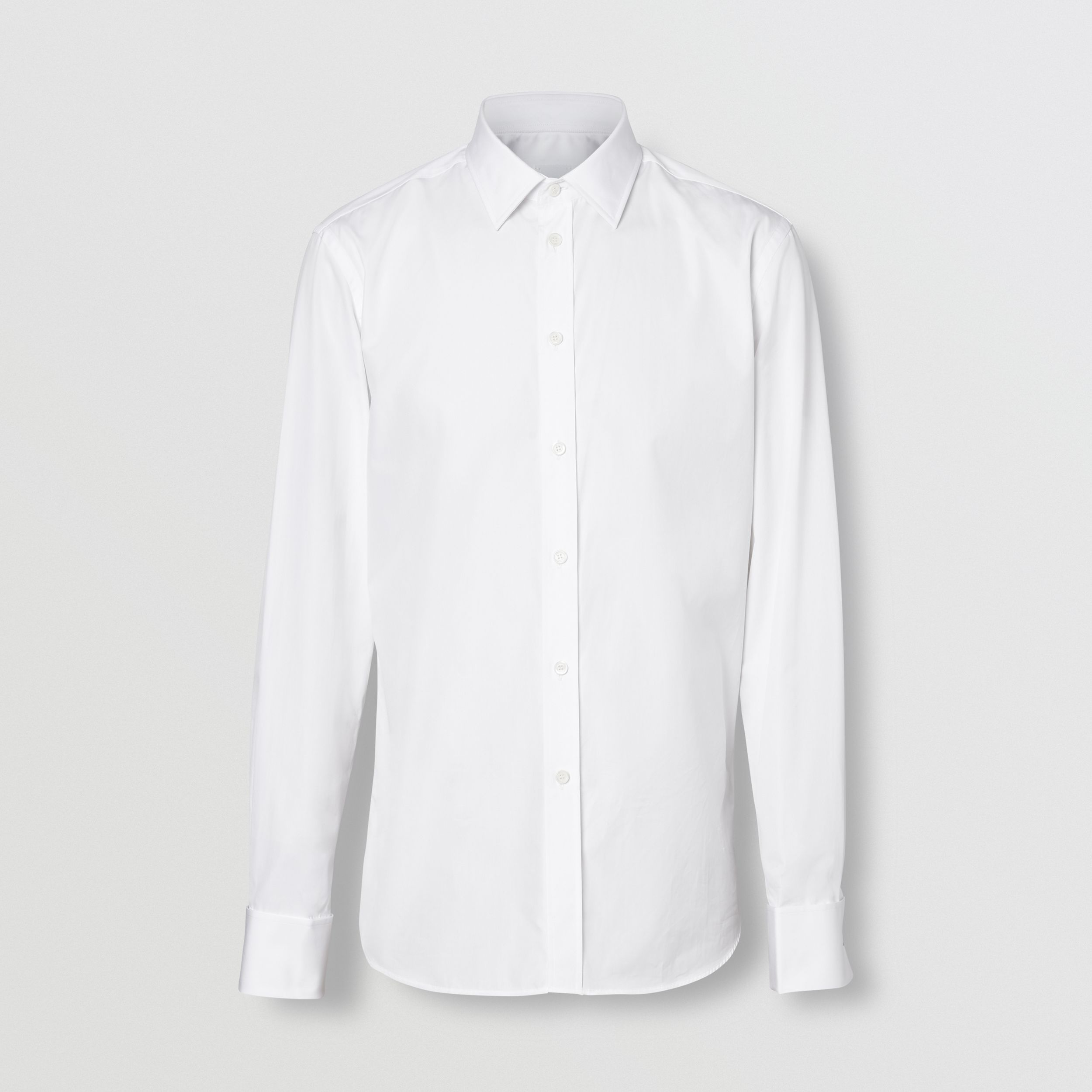Slim Fit Monogram Motif Cotton Poplin Shirt in White - Men | Burberry - 4