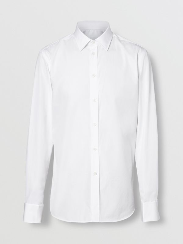 Slim Fit Monogram Motif Cotton Poplin Shirt in White - Men | Burberry - cell image 3