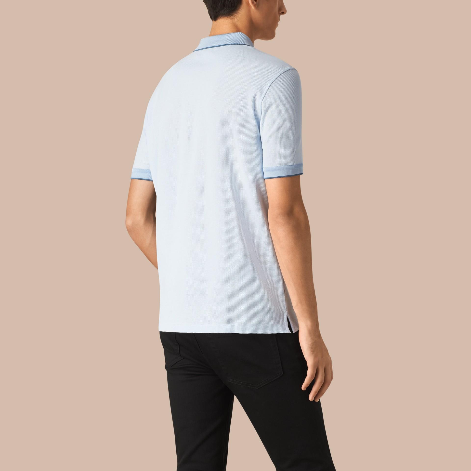 Sky blue/blue azure Contrast Tipping Cotton Piqué Polo Shirt Sky Blue/blue Azure - gallery image 2