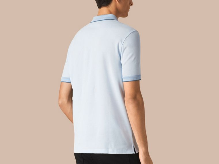 Sky blue/blue azure Contrast Tipping Cotton Piqué Polo Shirt Sky Blue/blue Azure - cell image 1