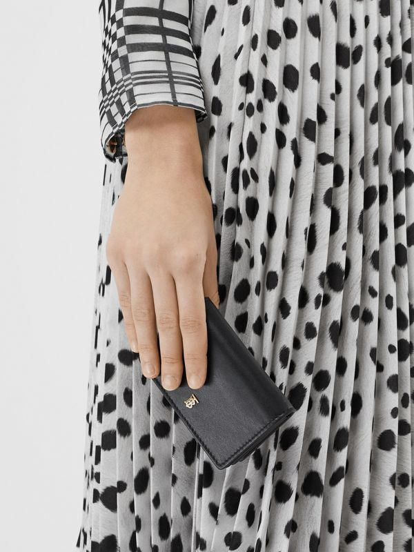 Leather Card Case with Detachable Strap in Black - Women | Burberry - cell image 2
