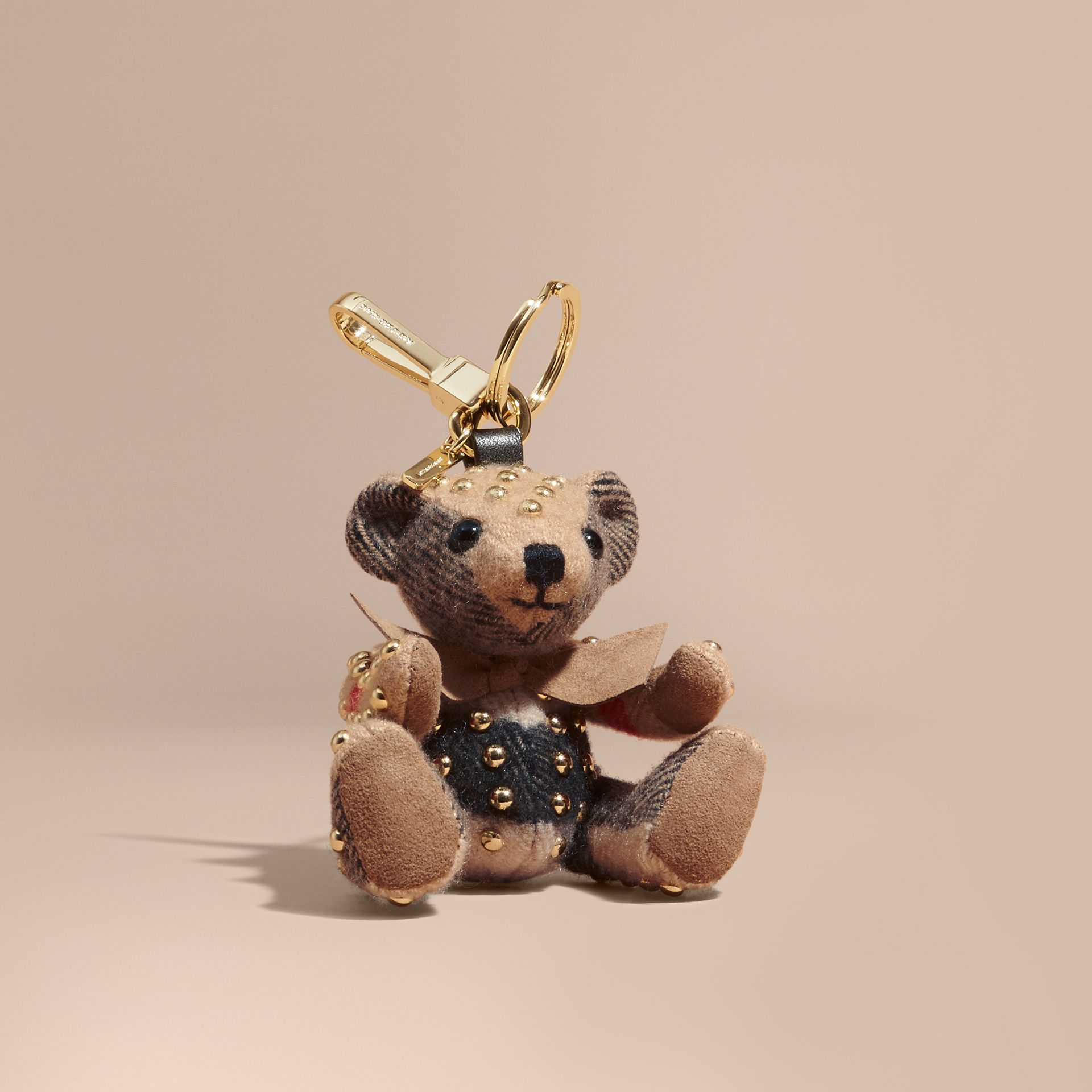 Thomas Bear Charm in Riveted Check Cashmere in Camel - Women | Burberry United Kingdom - gallery image 0