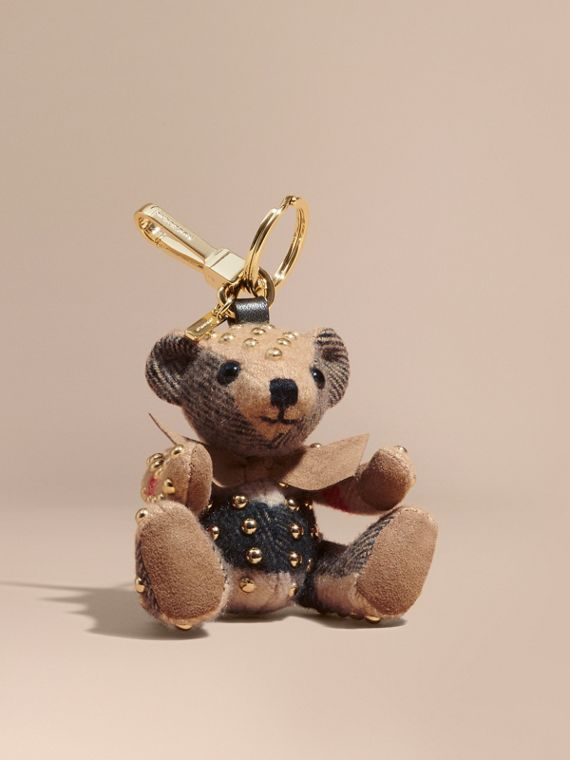 Thomas Bear Charm in Riveted Check Cashmere in Camel