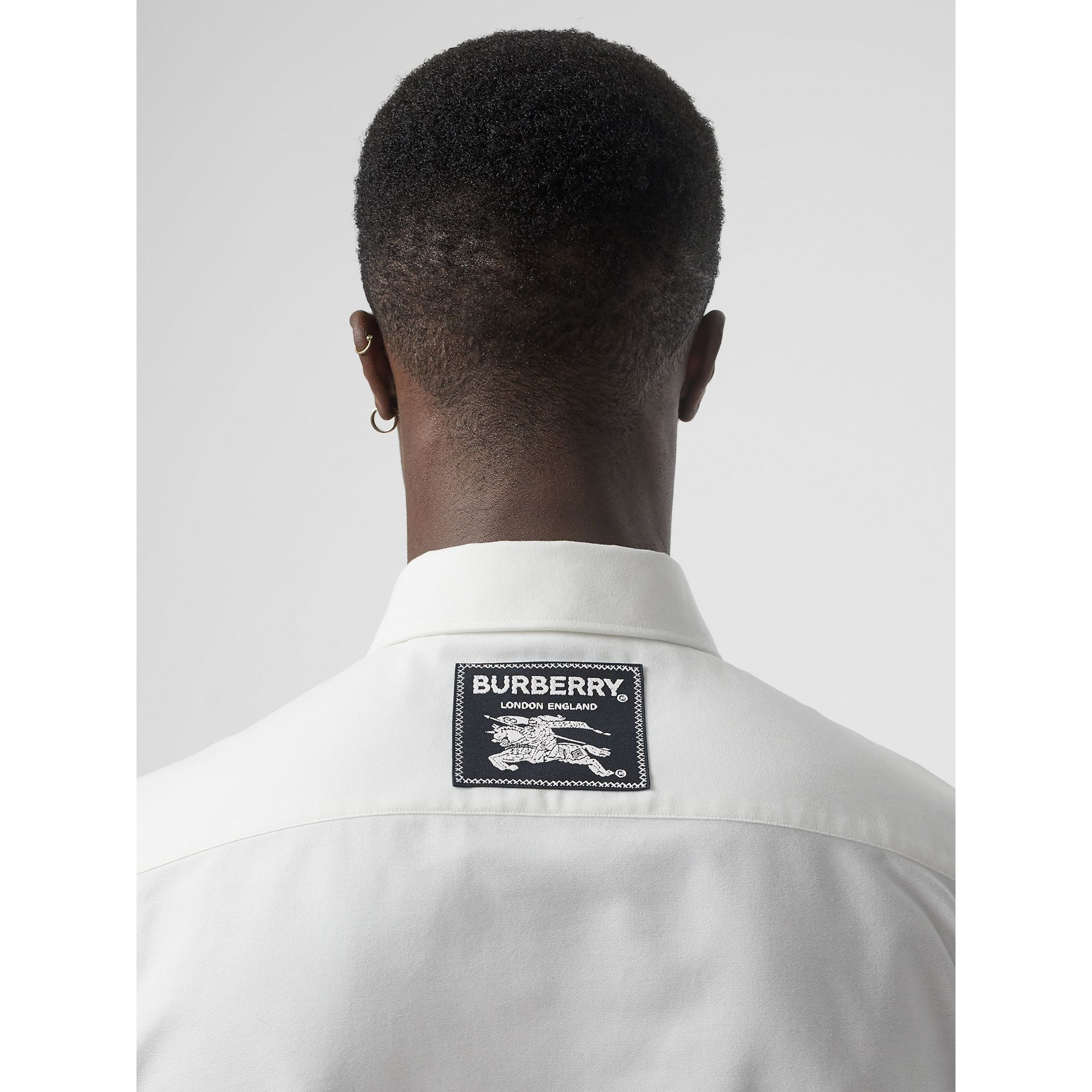 EKD Appliqué Cotton Oxford Shirt in White - Men | Burberry - gallery image 4