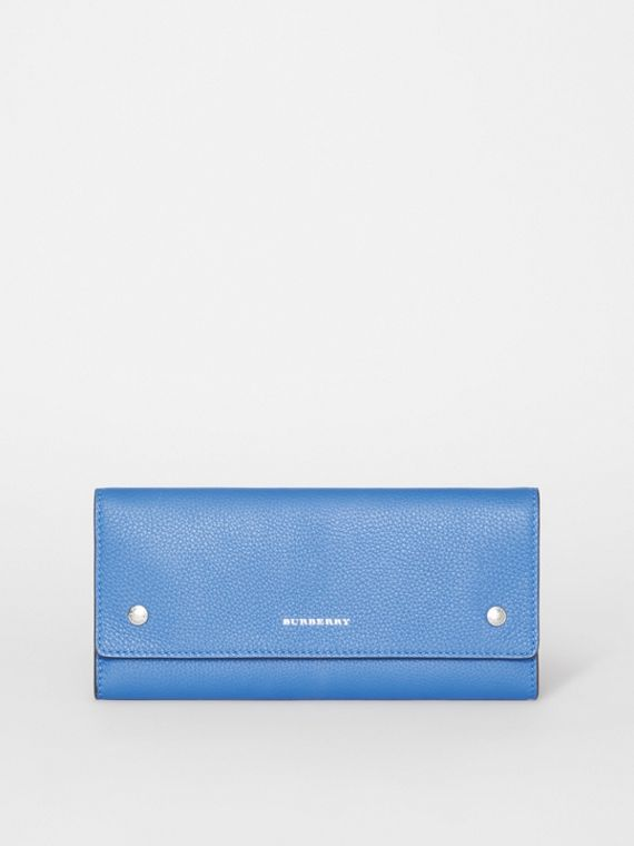 Leather Continental Wallet in Hydrangea Blue