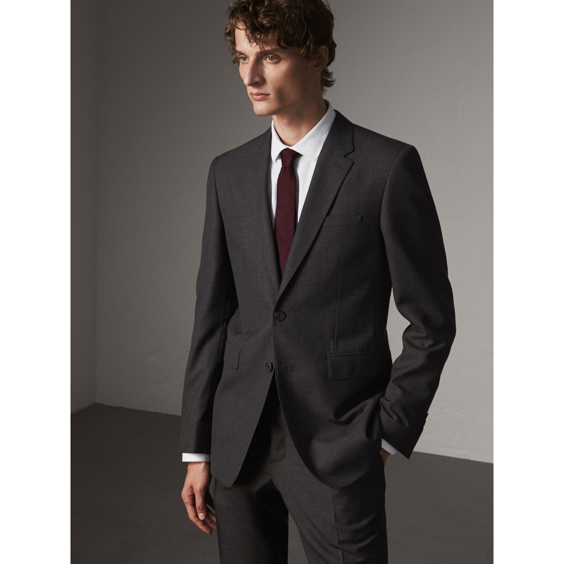 Modern Fit Wool Part-canvas Suit in Charcoal - Men | Burberry United Kingdom - gallery image 8