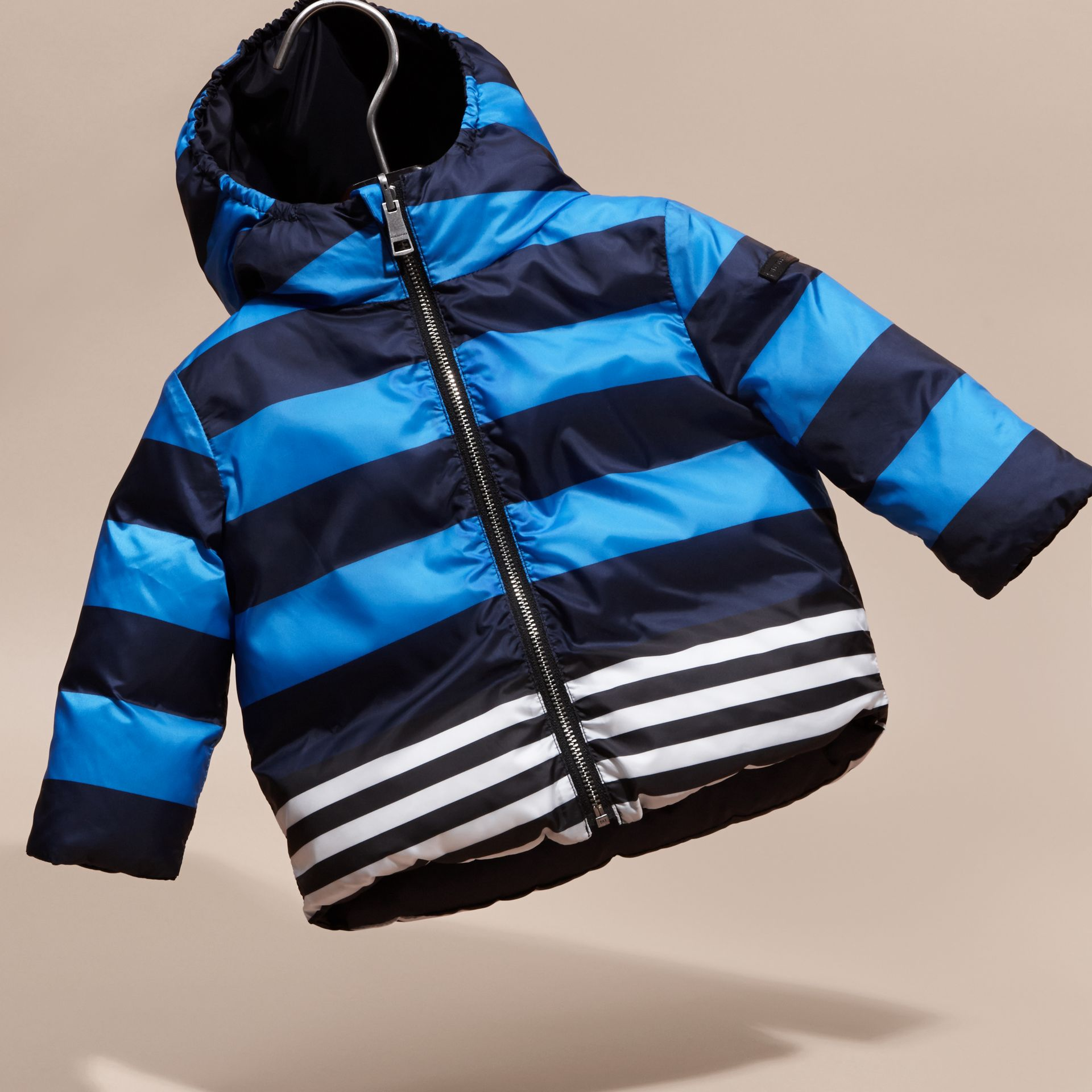 Ink blue Reversible Down-filled Puffer Coat - gallery image 3