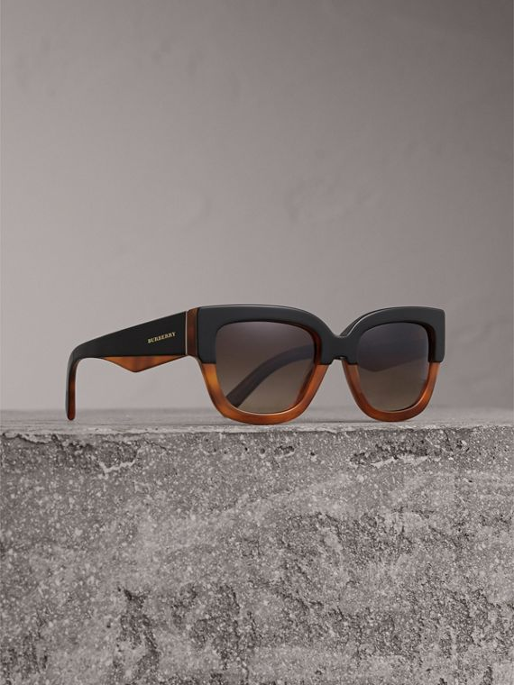 Square Frame Sunglasses in Light Brown - Women | Burberry