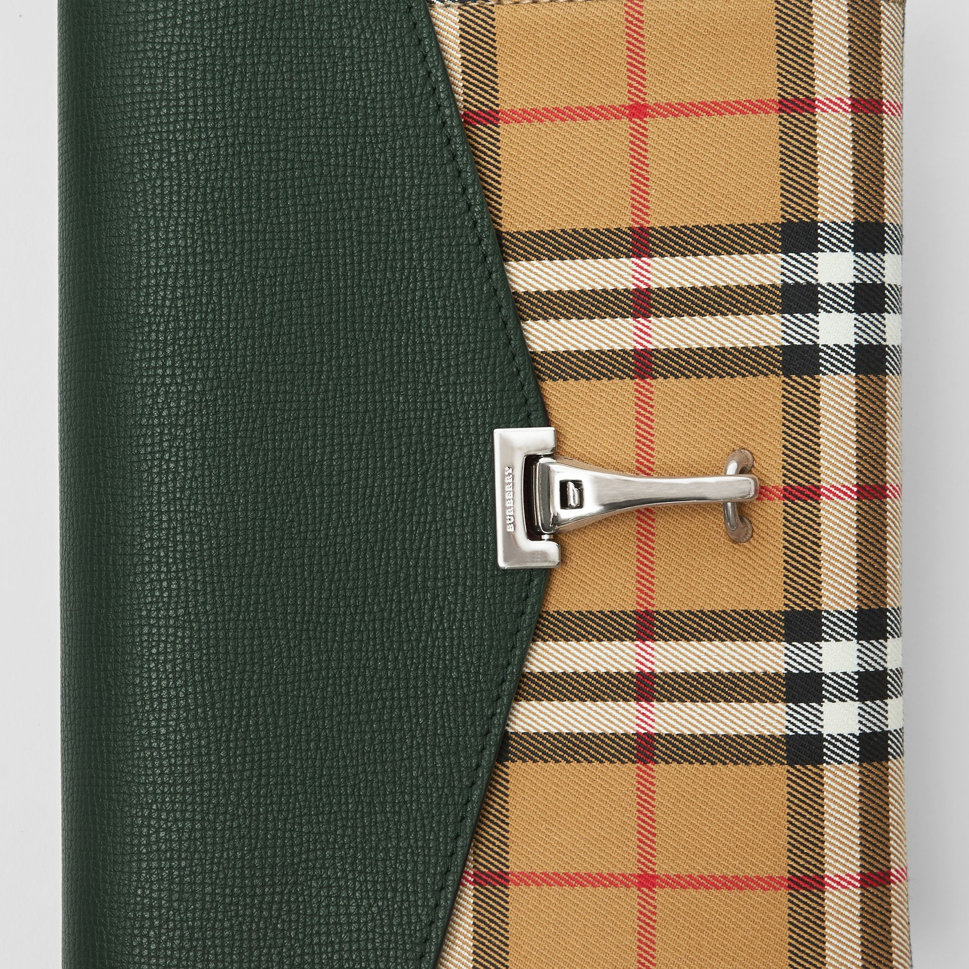 Small Vintage Check and Leather Crossbody Bag in Green - Women | Burberry United States - gallery image 1