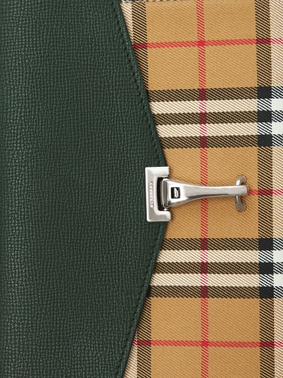 Small Vintage Check and Leather Crossbody Bag in Green - Women | Burberry Australia - cell image 1