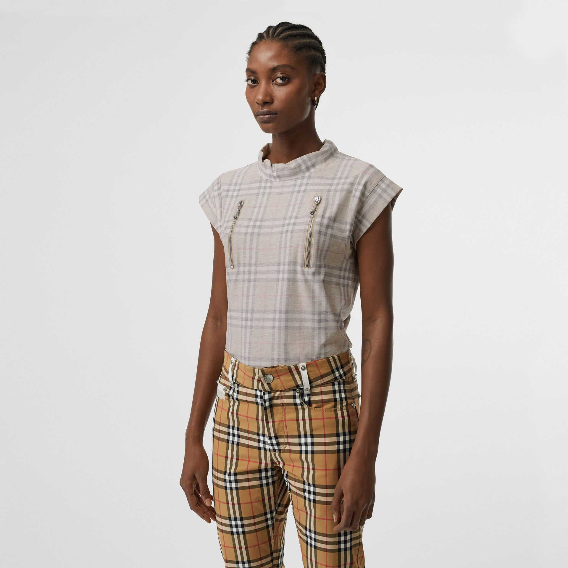 Zip Detail Vintage Check Cotton T-shirt in Antique Yellow | Burberry - gallery image 2