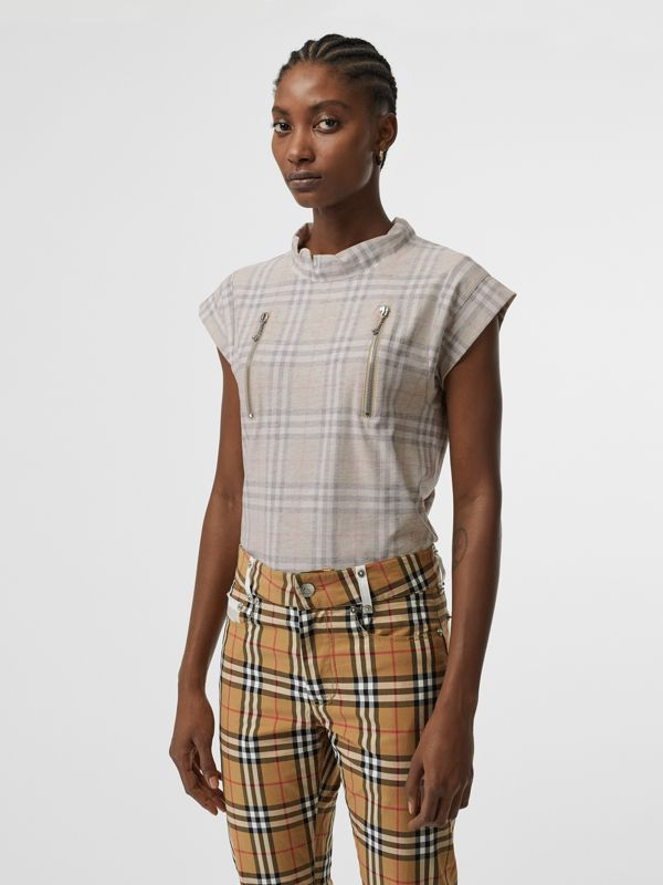 Zip Detail Vintage Check Cotton T-shirt in Antique Yellow - Women | Burberry - cell image 2