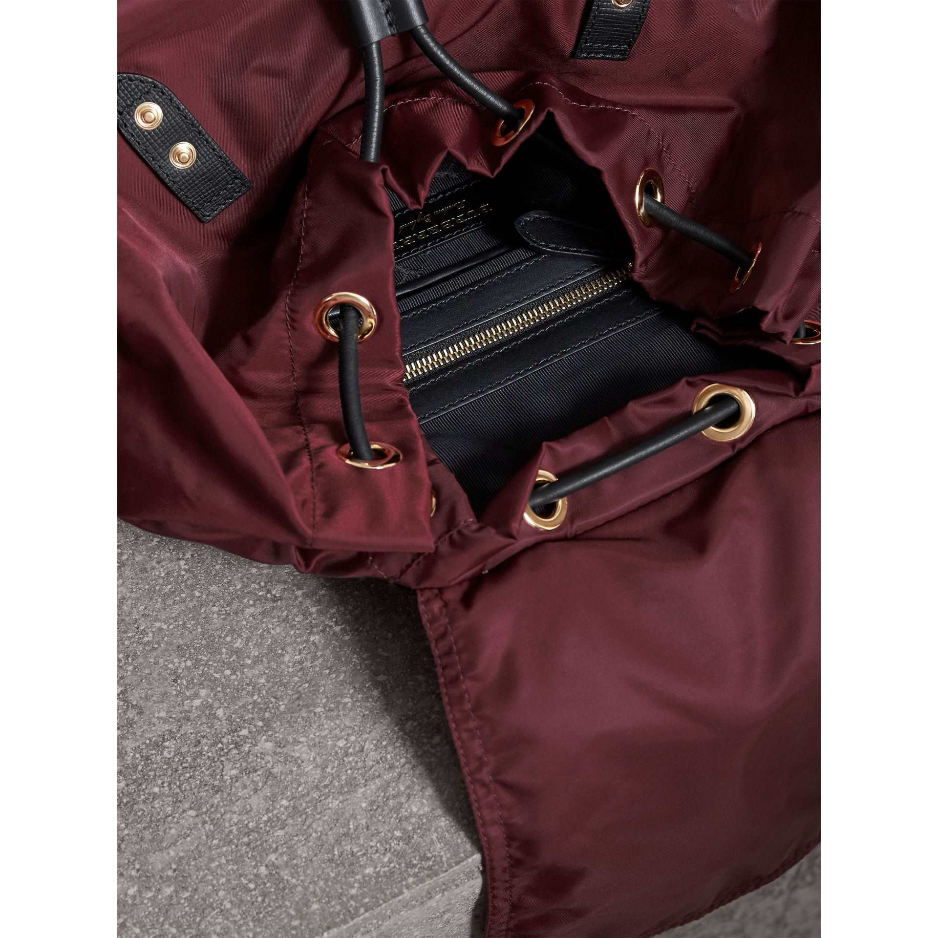The Large Rucksack in Technical Nylon and Leather in Burgundy Red - gallery image 6