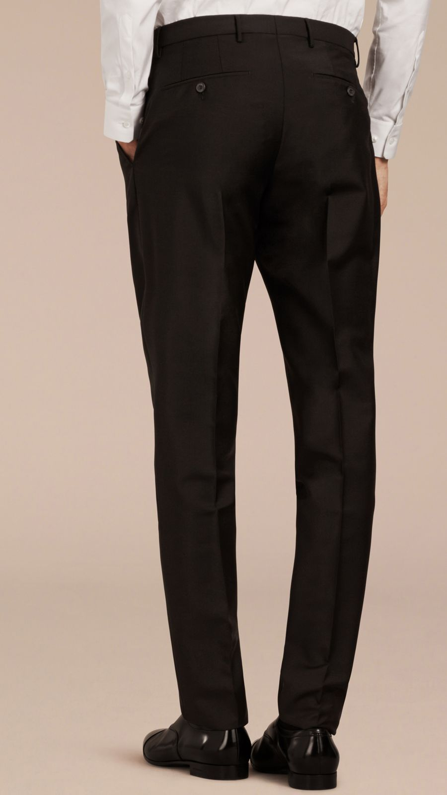 Black Modern Fit Wool Mohair Trousers Black - Image 4