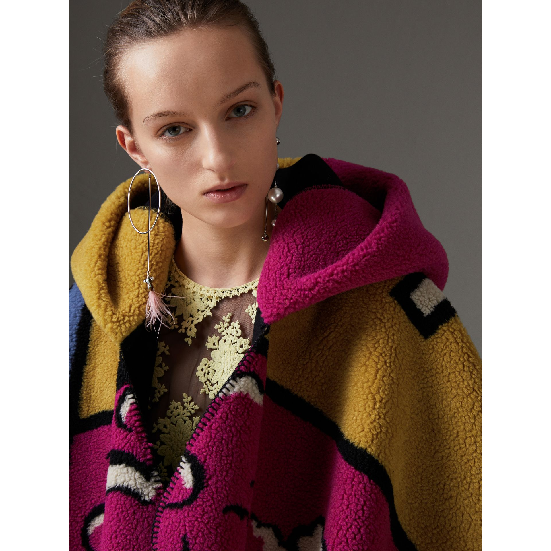 Poster Graphic Fleece Jacquard Hooded Poncho in Multicolour - Women | Burberry Canada - gallery image 1