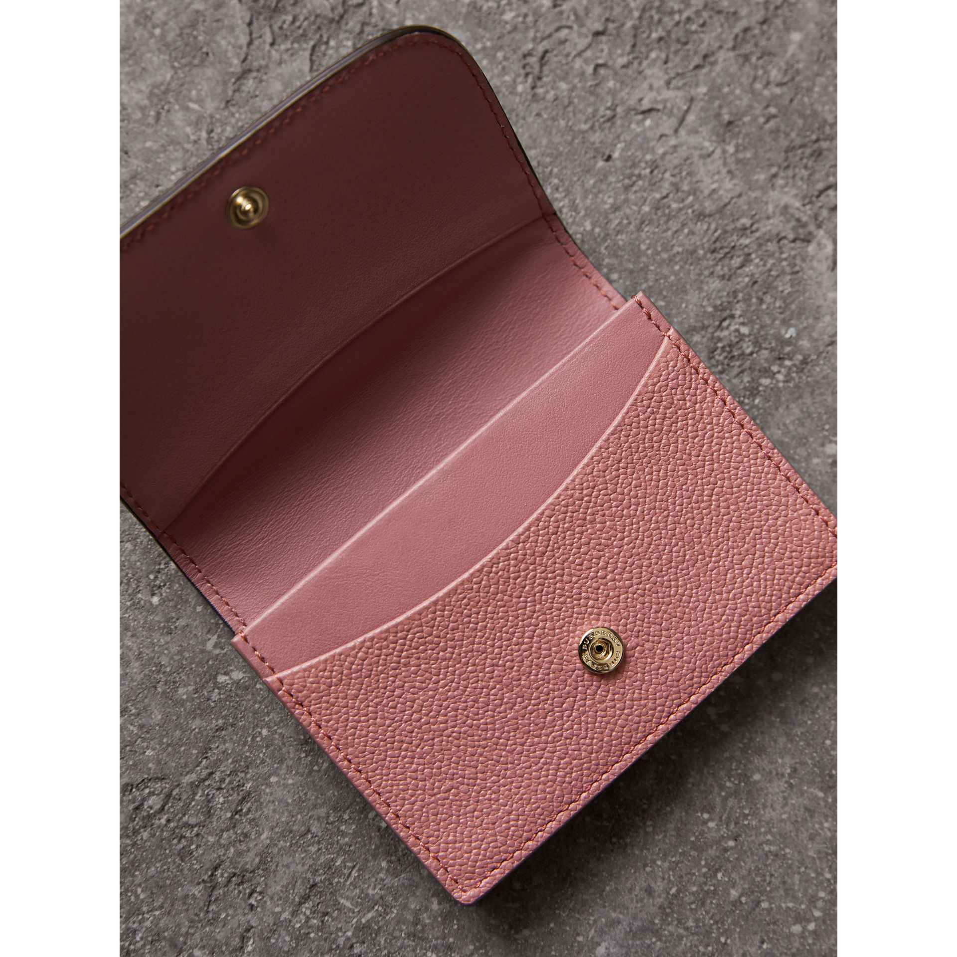 Grainy Leather Card Case in Dusty Pink - Women | Burberry - gallery image 3