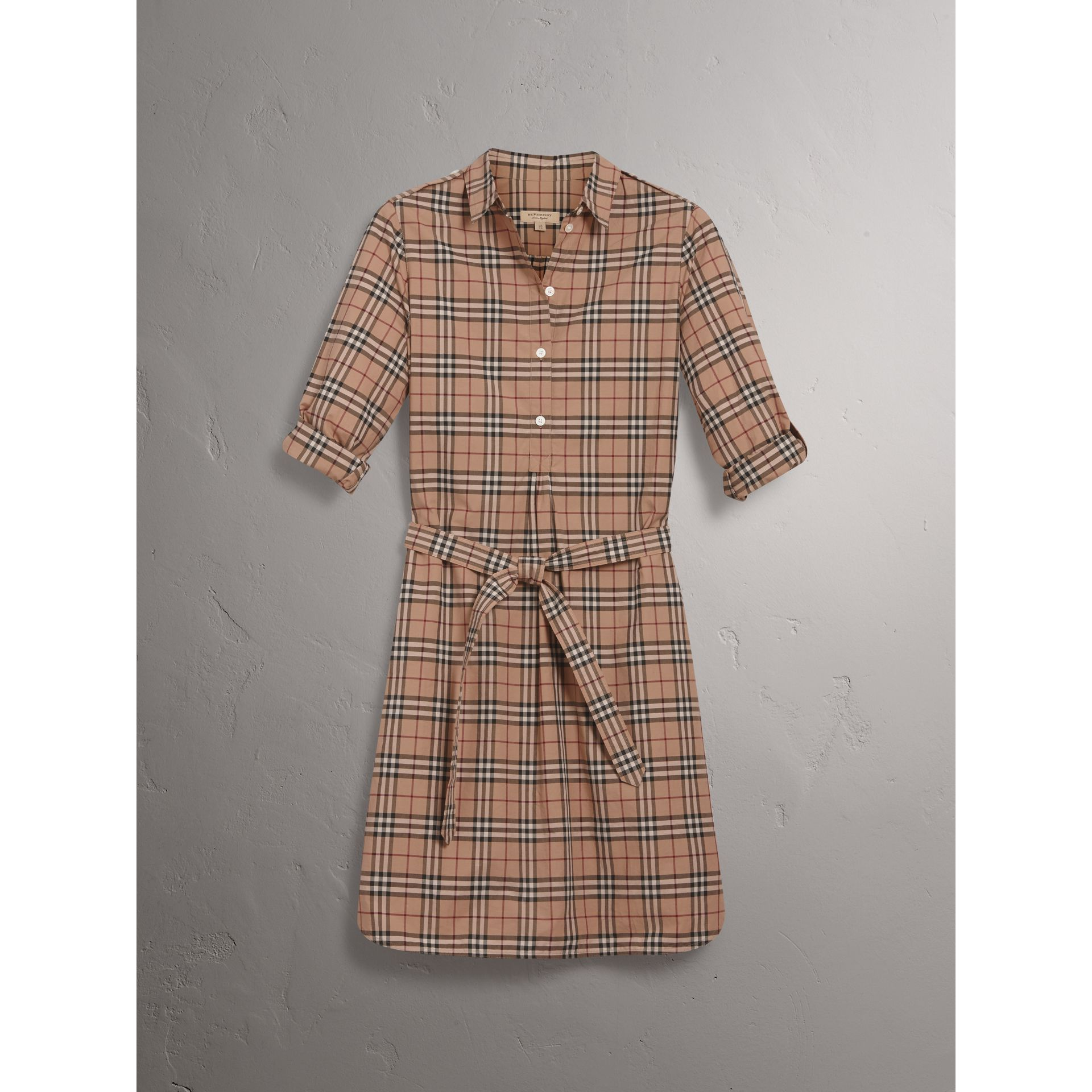 Check Cotton Tunic Dress in Camel - Women | Burberry - gallery image 3