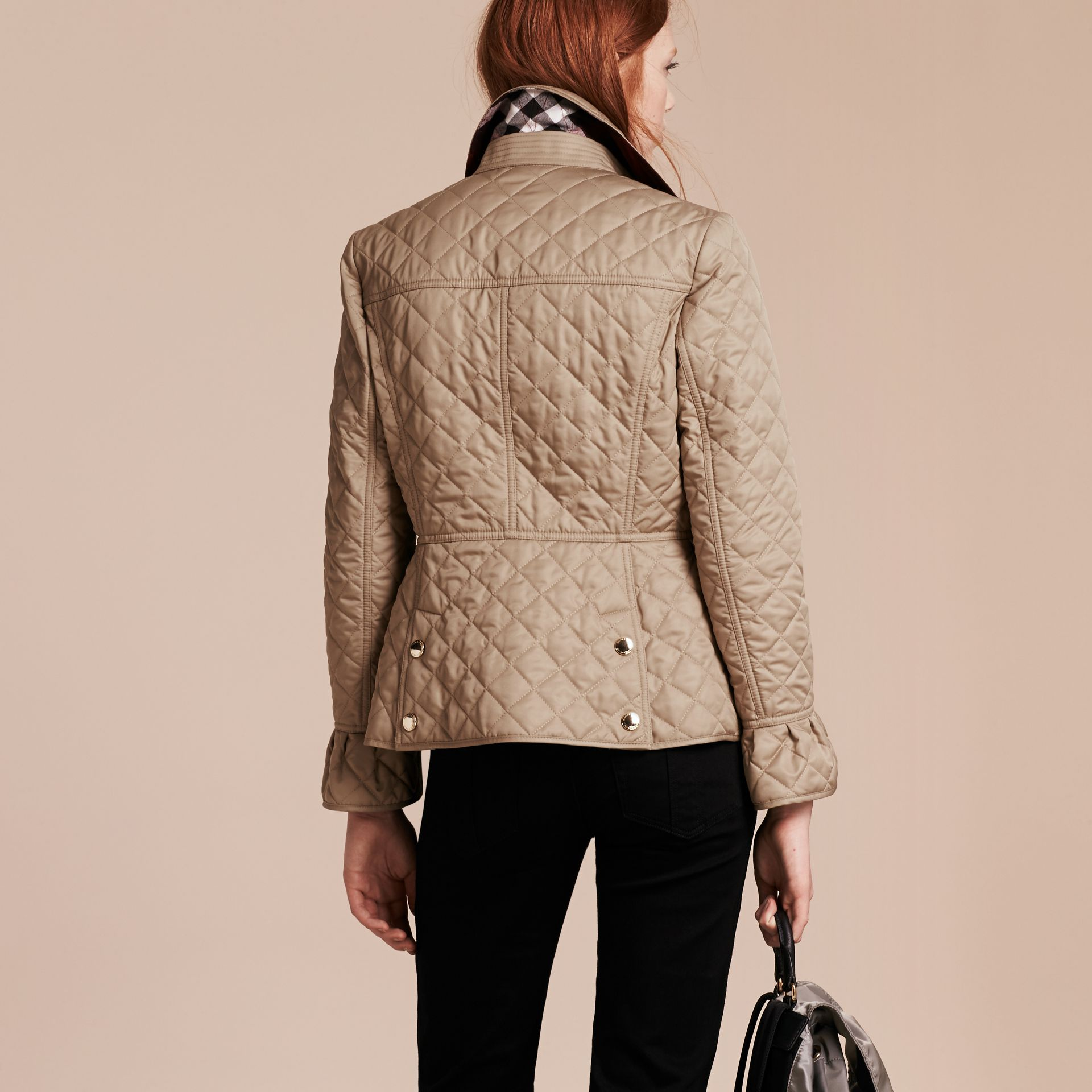 Canvas Diamond Quilted Peplum Jacket Canvas - gallery image 3