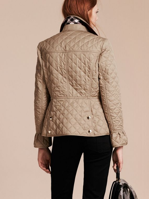Canvas Diamond Quilted Peplum Jacket Canvas - cell image 2