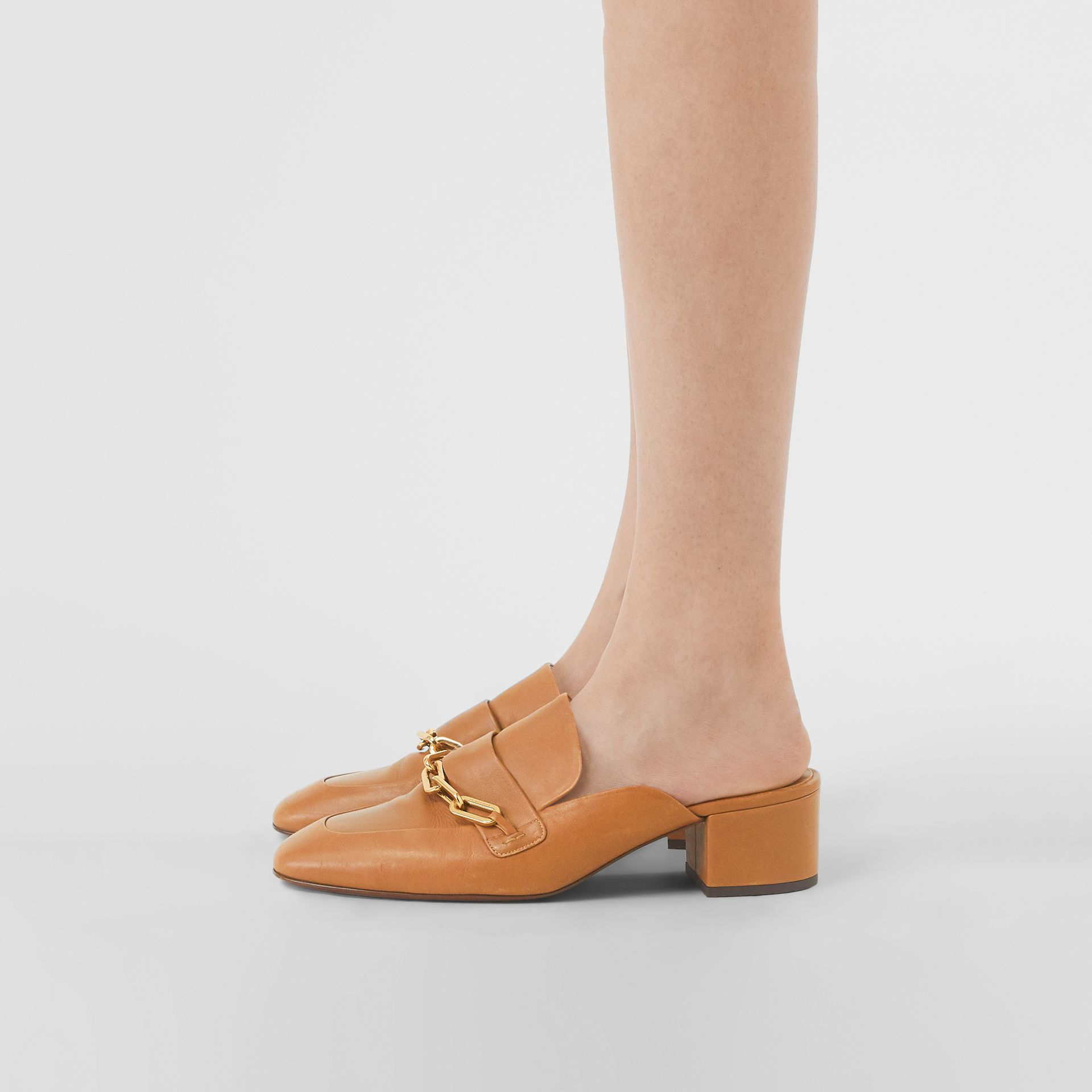 Link Detail Leather Block-heel Mules in Camel - Women | Burberry Canada - gallery image 2