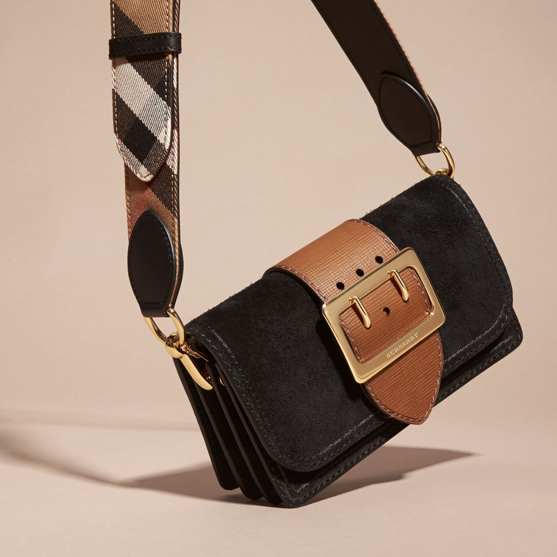 The Small Buckle Bag in Suede with Topstitching in Black / Tan - gallery image 8