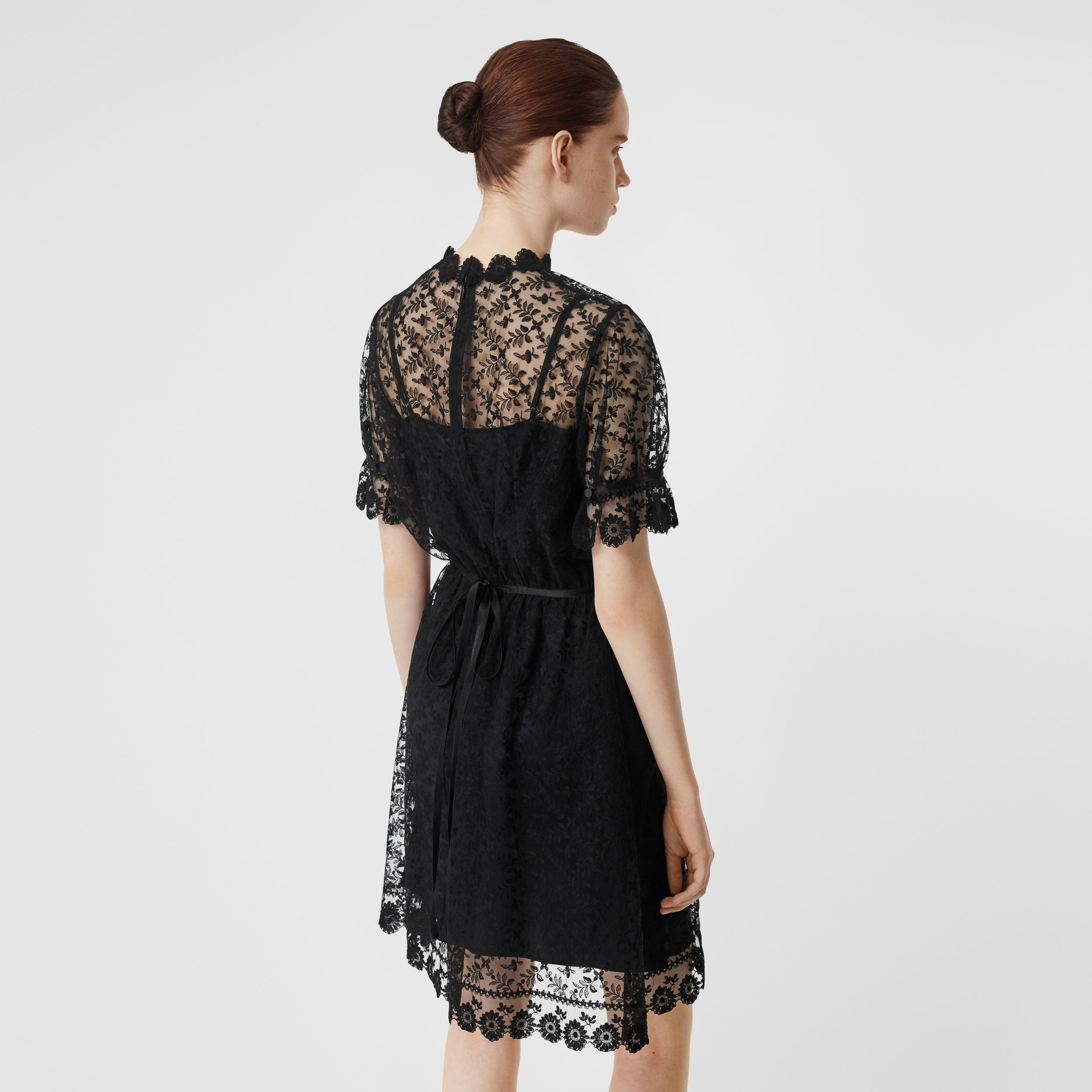 Floral Embroidered Tulle Dress in Black | Burberry - 3
