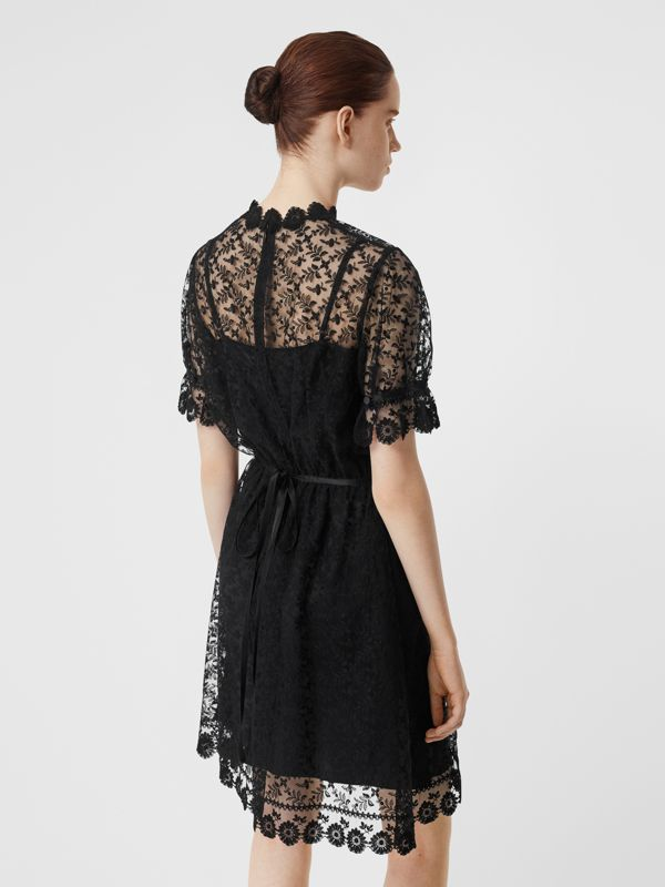 Floral Embroidered Tulle Dress in Black - Women | Burberry - cell image 2