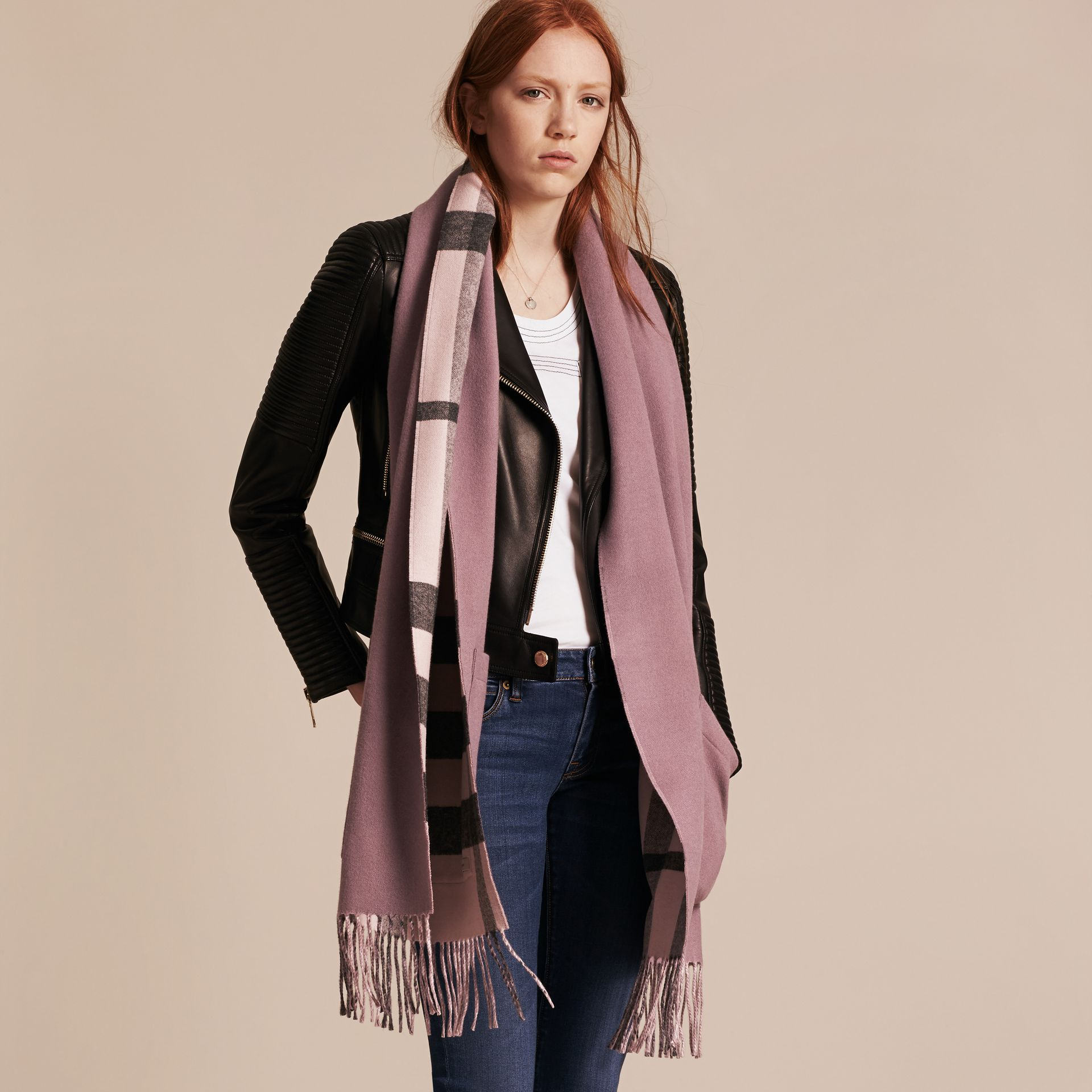 Thistle pink Check Lined Wool Cashmere Stole Thistle Pink - gallery image 1