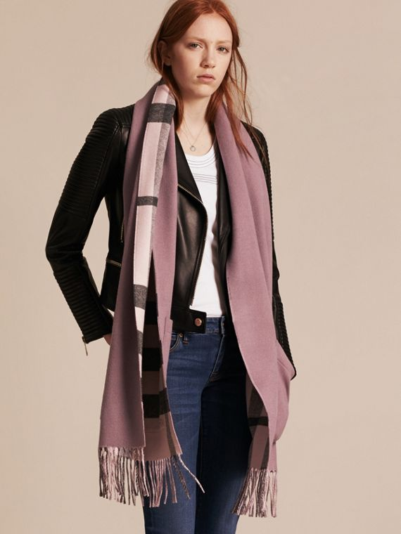 Check Lined Wool Cashmere Stole Thistle Pink