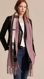 Check Lined Wool Cashmere Stole
