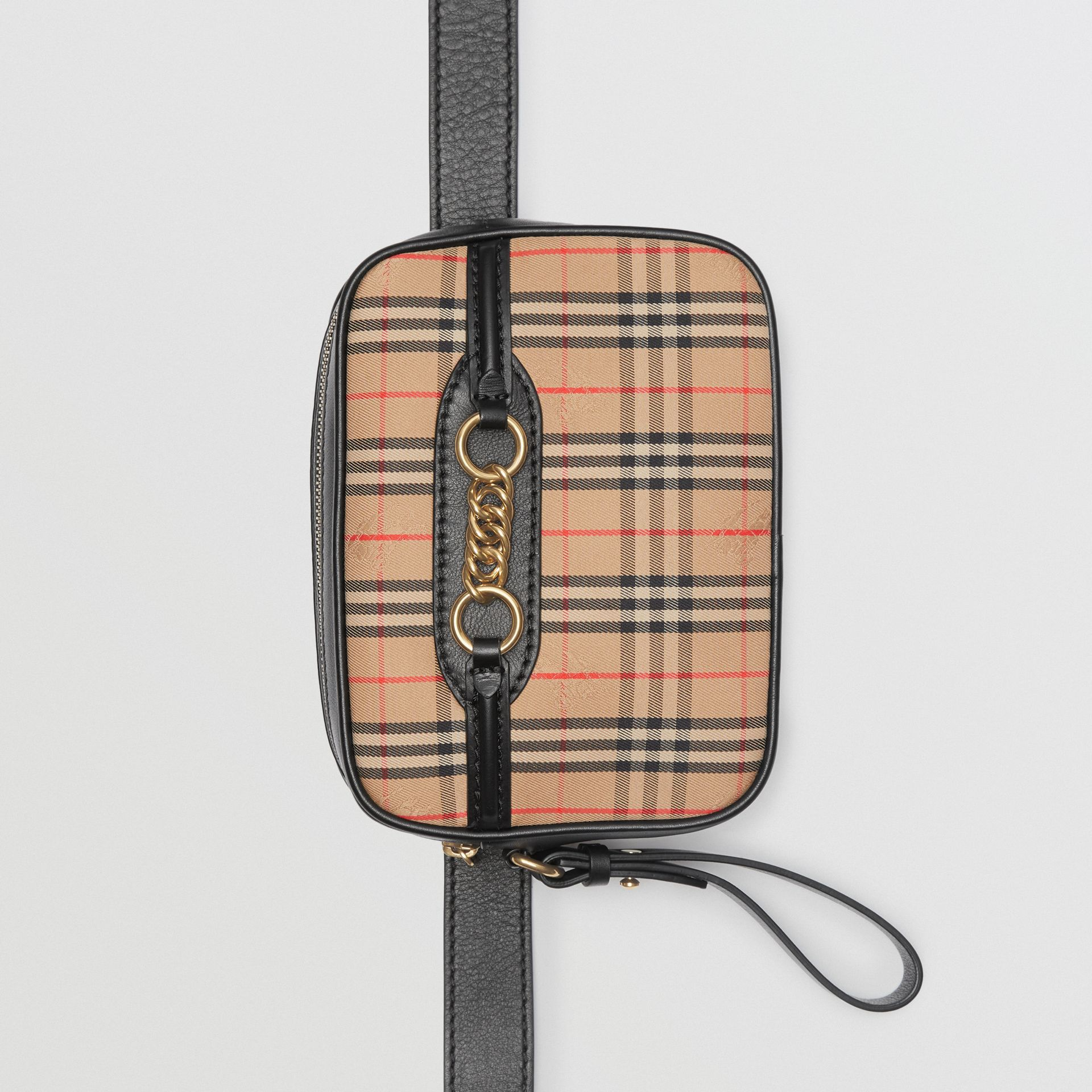 The 1983 Check Link Bum Bag with Leather Trim in Black - Women | Burberry United Kingdom - gallery image 0