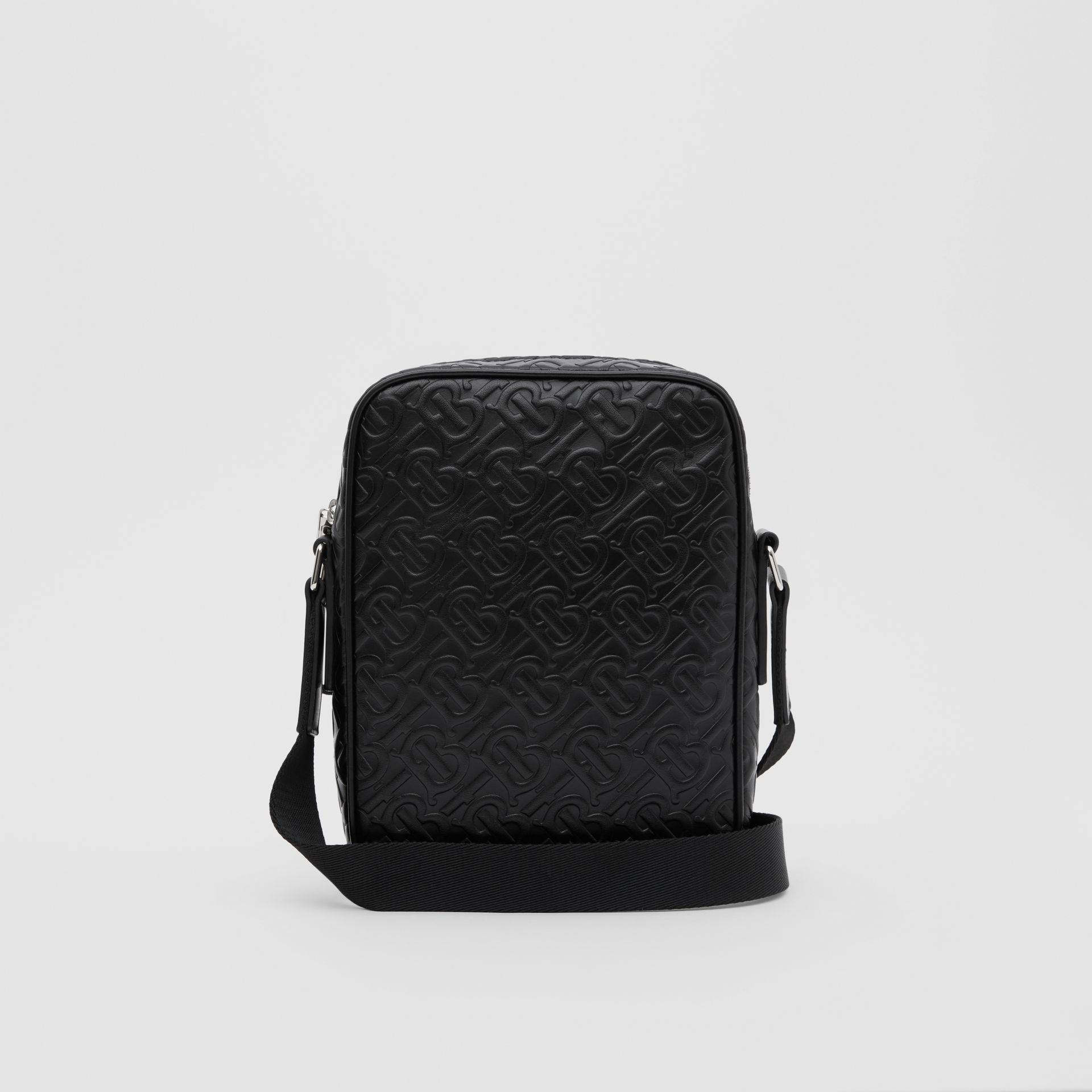 Monogram Leather Crossbody Bag in Black - Men | Burberry Canada - gallery image 9