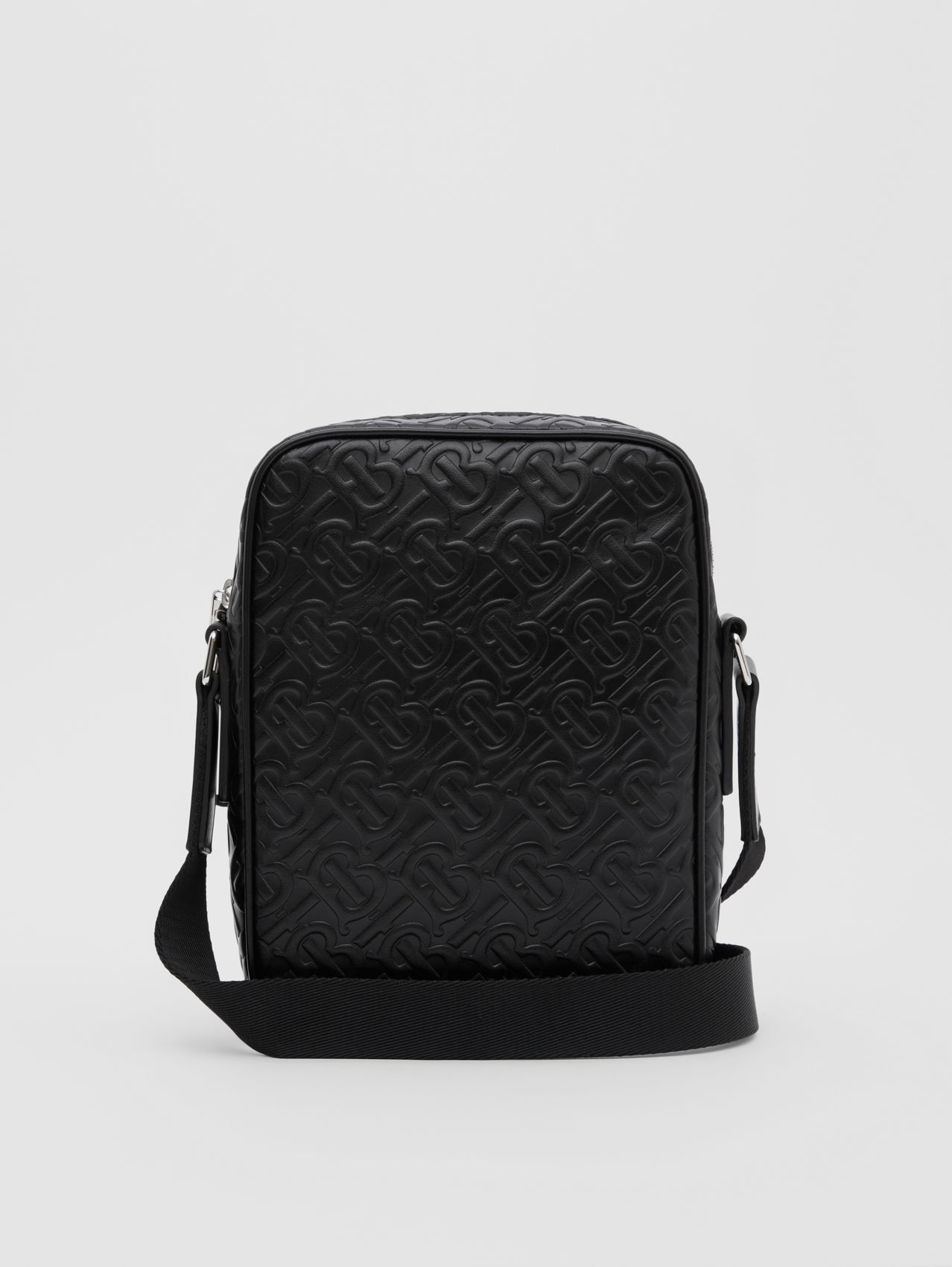 Monogram Leather Crossbody Bag in Black