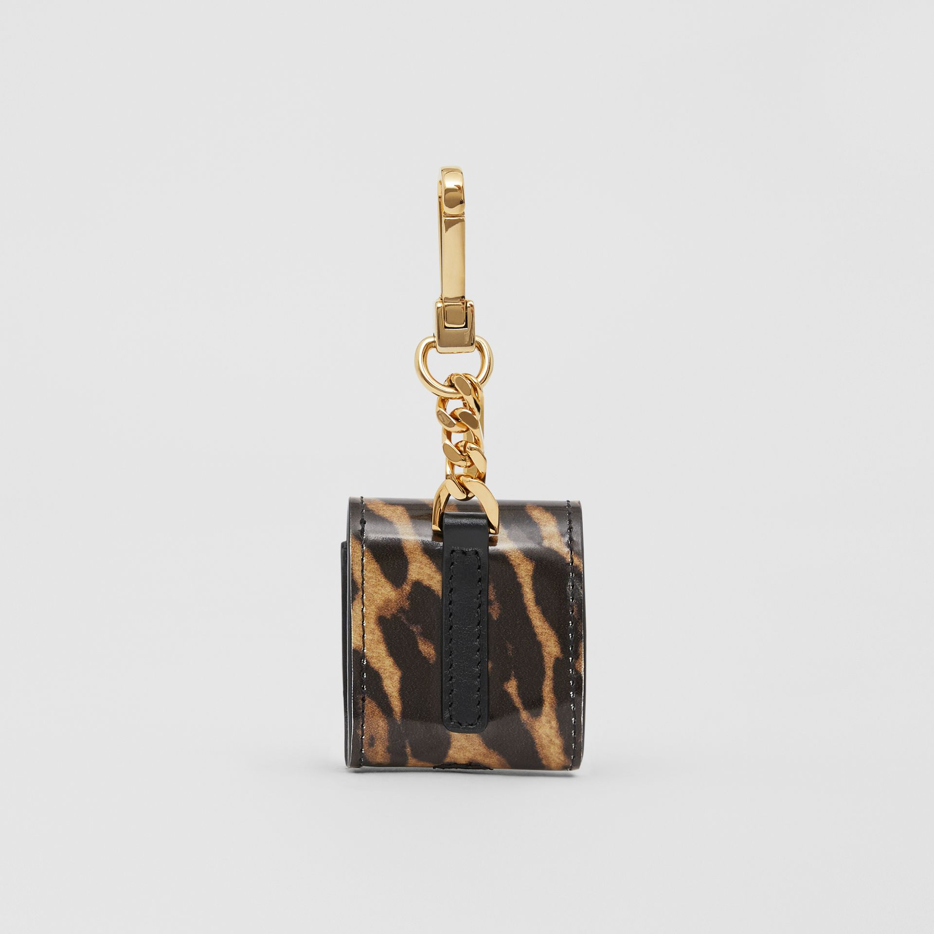 Leopard Print Leather Earphone Case in Dark Mustard | Burberry United States - gallery image 3