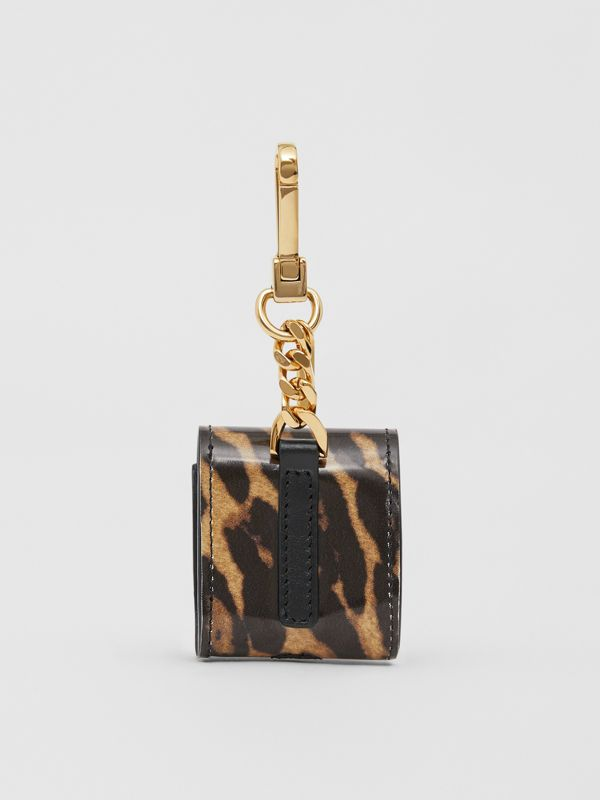 Leopard Print Leather Earphone Case in Dark Mustard | Burberry United States - cell image 3