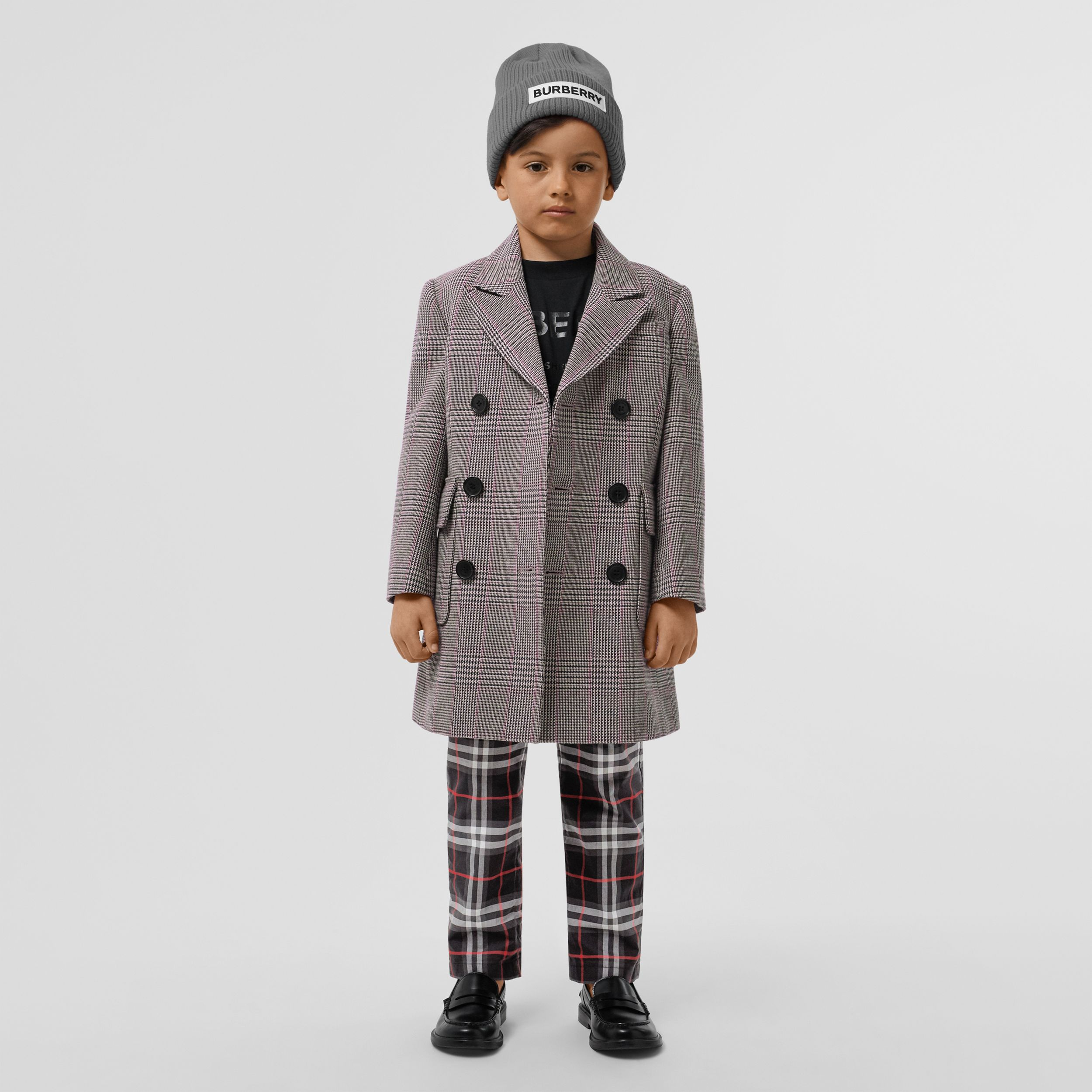 Prince of Wales Check Wool Cotton Blend Coat in Slate Blue Melange | Burberry - 3