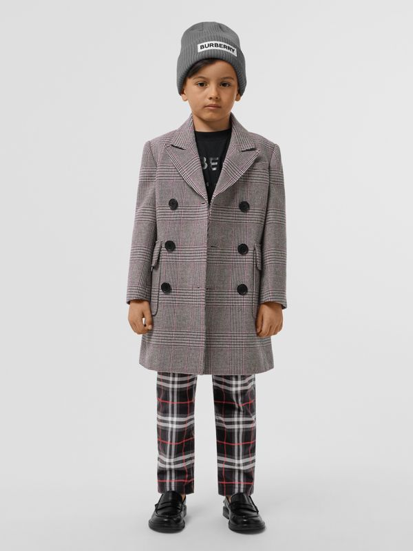 Prince of Wales Check Wool Cotton Blend Coat in Slate Blue Melange | Burberry - cell image 2