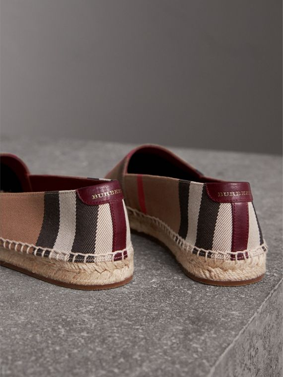 Check Linen Cotton Espadrilles in Dark Tan - Women | Burberry - cell image 2