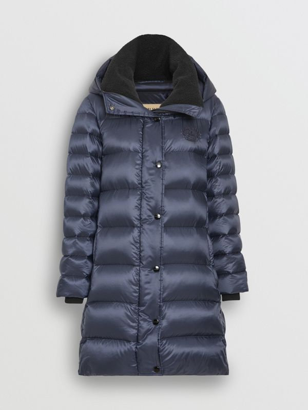 Down-filled Hooded Puffer Coat in Navy - Women | Burberry - cell image 3