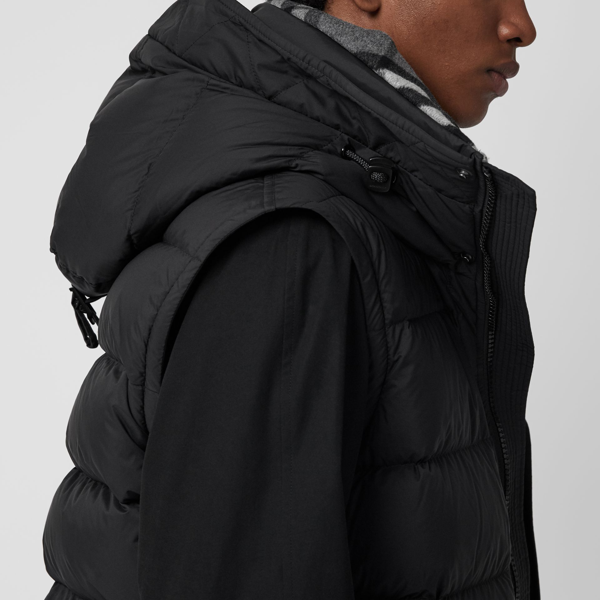 Detachable-sleeve Down-filled Hooded Puffer Jacket in Black - Men | Burberry Canada - gallery image 4