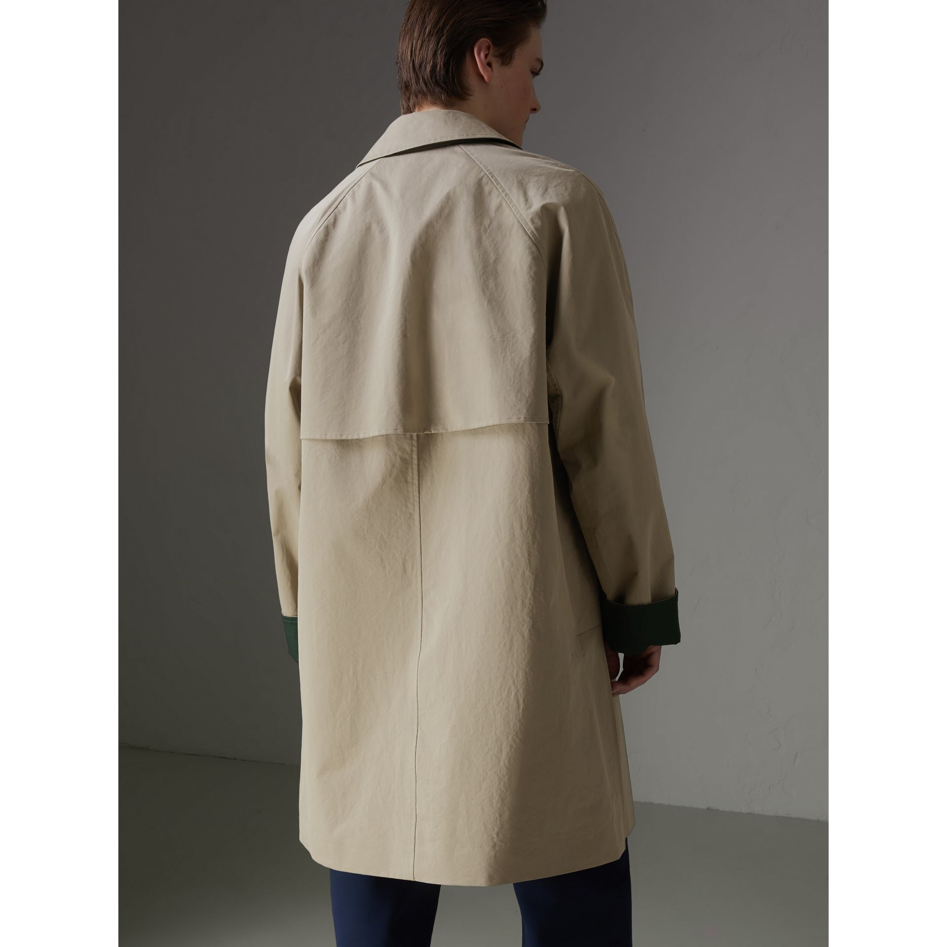 Reissued Waxed Cotton Gabardine Car Coat in Khaki - Men | Burberry Australia - gallery image 2